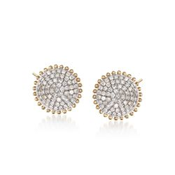 .37 ct. t.w. Pave Diamond Beaded Circle Earrings in 14kt Yellow Gold, , default