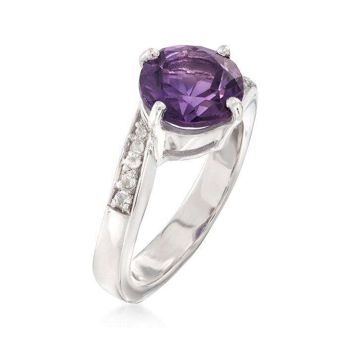 2.20 Carat Amethyst and .14 ct. t.w. White Topaz Ring in Sterling Silver
