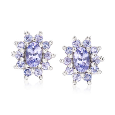 1.40 ct. t.w. Tanzanite Flower Earrings in Sterling Silver, , default