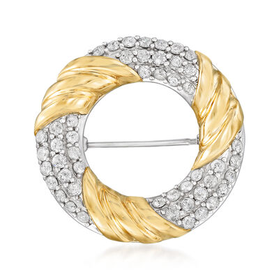 2.00 ct. t.w. Diamond Open-Circle Pin in Sterling Silver and 14kt Yellow Gold