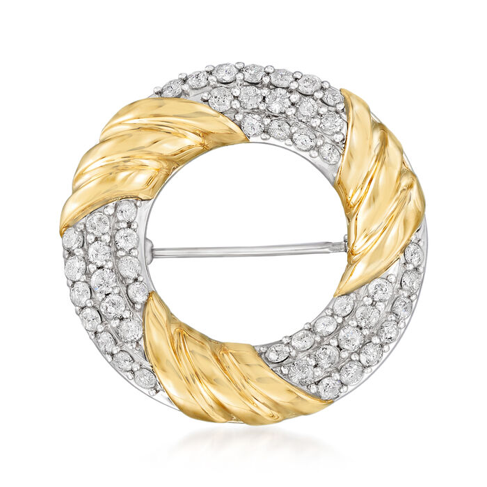 2.00 ct. t.w. Diamond Open-Circle Pin in Sterling Silver and 14kt Yellow Gold, , default