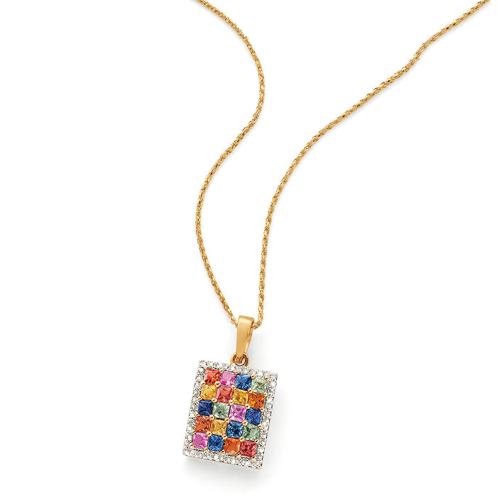2.00 ct. t.w. Multicolored Sapphire and .16 ct. t.w. Diamond Pendant in 14kt Yellow Gold
