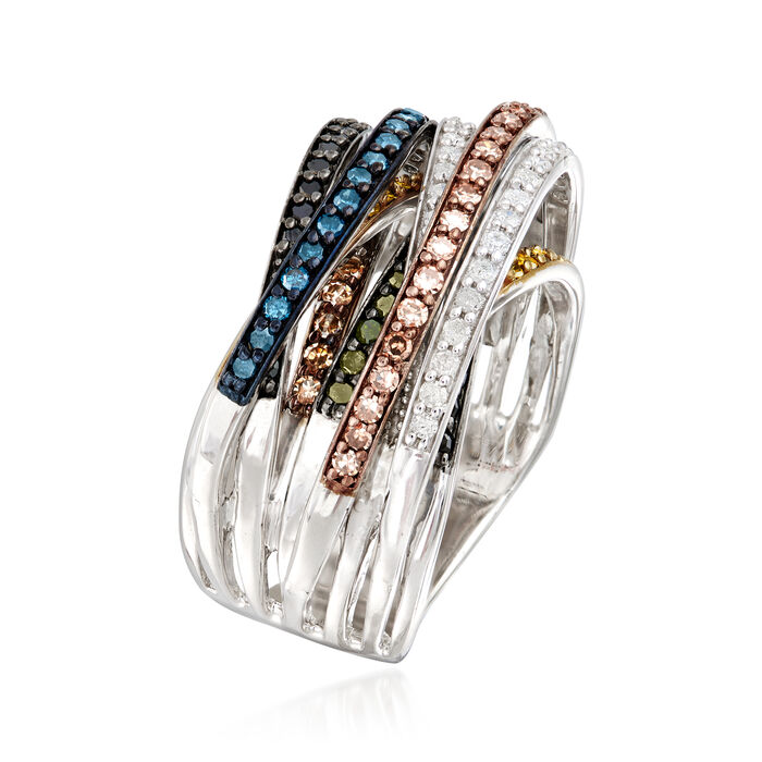 1.00 ct. t.w. Multicolored Diamond Highway Ring in Sterling Silver