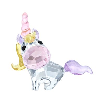 "Swarovski Crystal ""Unicorn"" Pink and Yellow Crystal Figurine, , default"