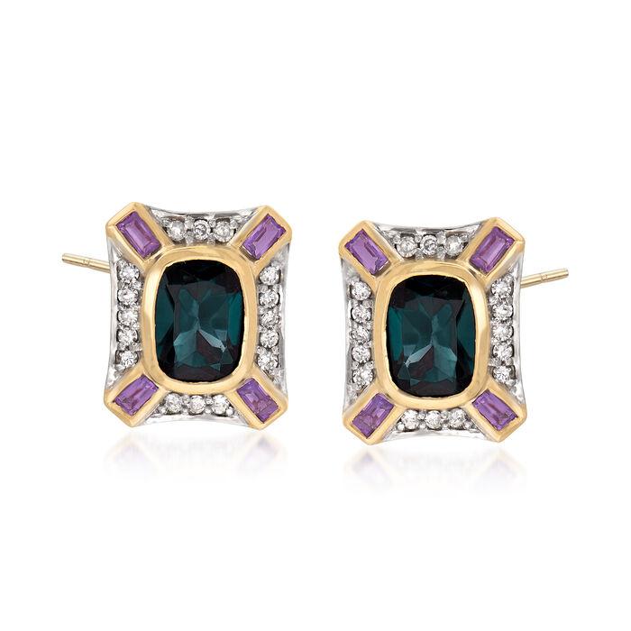 3.00 ct. t.w. London Blue Topaz, .30 ct. t.w. Amethyst and .30 ct. t.w. Diamond Earrings in 14kt Yellow Gold, , default