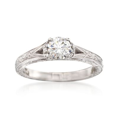 C. 2000 Vintage .75 ct. t.w. Diamond Engraved Ring in 14kt White Gold