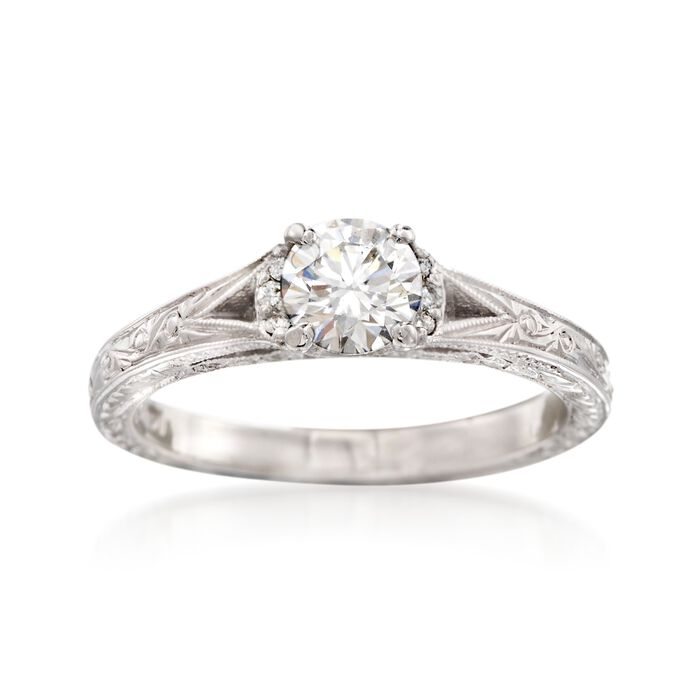 C. 2000 Vintage .75 ct. t.w. Diamond Engraved Ring in 14kt White Gold. Size 6