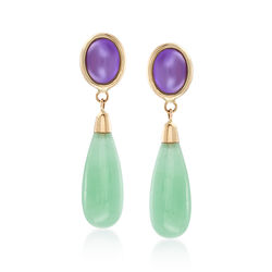Lavender and Green Jade Drop Earrings in 14kt Yellow Gold , , default