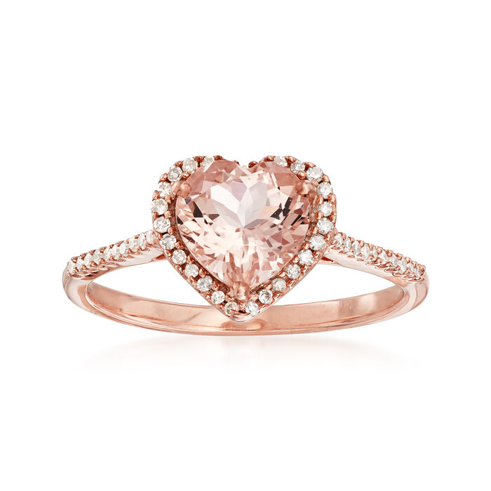 1.00 ct. t.w. Pink Morganite and .15 ct. t.w. Diamond Heart Ring in 14kt Rose Gold, , default