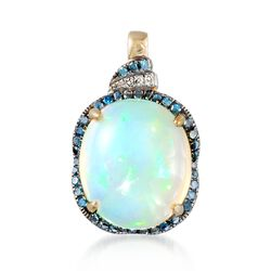 Ethiopian Opal and .29 ct. t.w. Diamond Pendant in 14kt Yellow Gold. Pendant, , default