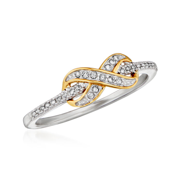 .10 ct. t.w. Diamond Infinity Ring in Sterling Silver with 14kt Yellow Gold