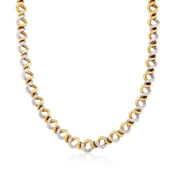 """C. 1990 Vintage 2.10 ct. t.w. Diamond Spiral Necklace in 18kt Two-Tone Gold. 17"""", , default"""