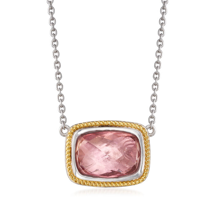 Pink Quartz Necklace in Sterling Silver with 14kt Yellow Gold