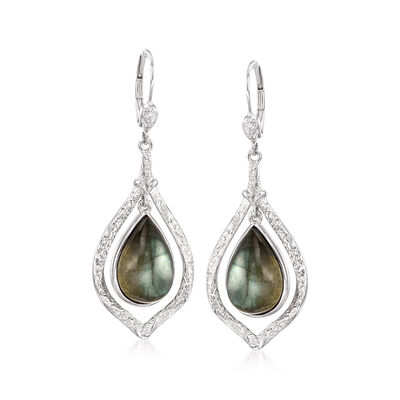 Pear-Shaped Labradorite Earrings in Sterling Silver, , default