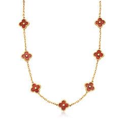 C. 1990 Vintage Floral Red Enamel Station Necklace in 18kt Yellow Gold, , default