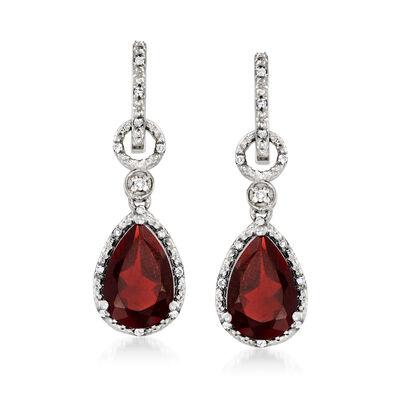 5.92 ct. t.w. Garnet and .16 ct. t.w. Diamond Drop Earrings in Sterling Silver