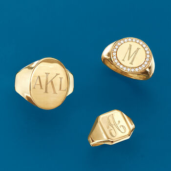 Personalized .26 ct. t.w. Diamond Signet Initial Ring in 18kt Yellow Gold, , default