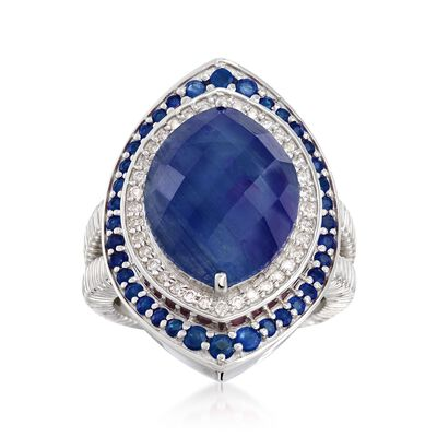 10.85 ct. t.w. Sapphire and .27 ct. t.w. Diamond Ring in Sterling Silver, , default