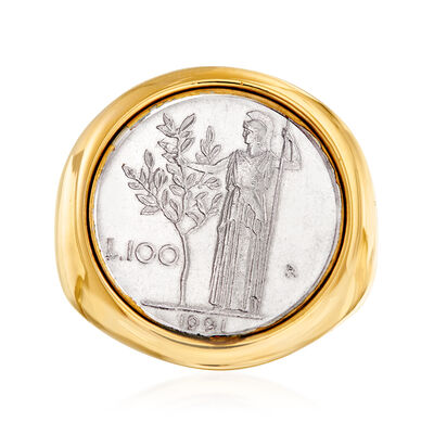 Italian Andiamo 14kt Yellow Gold 100-Lira Coin Ring, , default