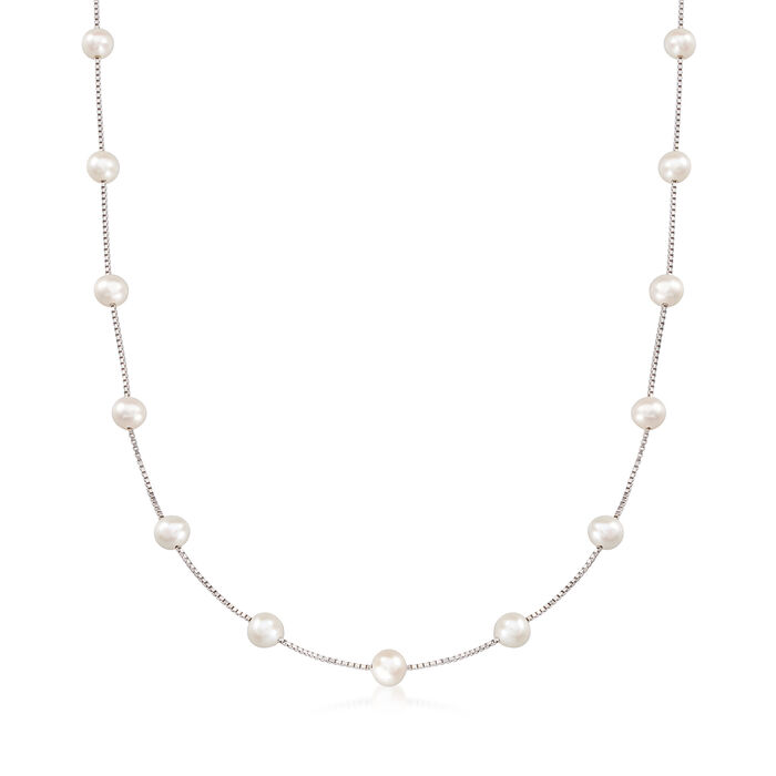 6-6.5mm Cultured Pearl Station Necklace in Sterling Silver