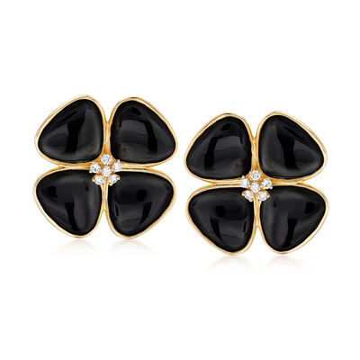 Black Onyx and .42 ct. t.w. Diamond Flower Earrings in 14kt Yellow Gold, , default