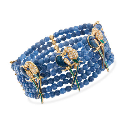 Italian Blue Quartzite and 2.00 ct. t.w. CZ Parrot Bracelet in 18kt Gold Over Sterling, , default