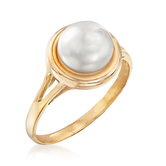 8-8.25mm Cultured Pearl Ring in 14kt Yellow Gold