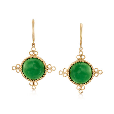 12mm Green Jade Drop Earrings in 14kt Yellow Gold, , default
