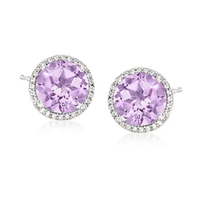 4.50 ct. t.w. Amethyst and .20 ct. t.w. White Topaz Earrings in Sterling Silver, , default