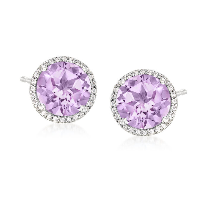 4.50 ct. t.w. Amethyst and .20 ct. t.w. White Topaz Earrings in Sterling Silver