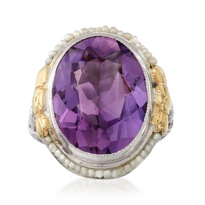 C. 1950 Vintage 7.20 Carat Amethyst and Cultured Seed Pear Ring in 14kt Two-Tone Gold, , default