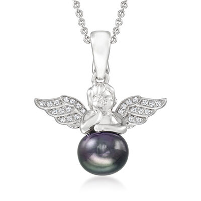 8.5-9mm Black Cultured Pearl and .10 ct. t.w. White Topaz Angel Pendant Necklace in Sterling Silver