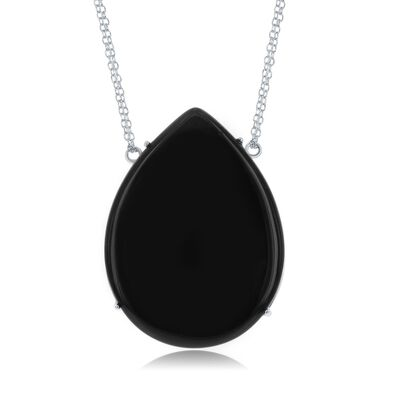 Pear-Shaped Black Onyx Necklace in Sterling Silver, , default