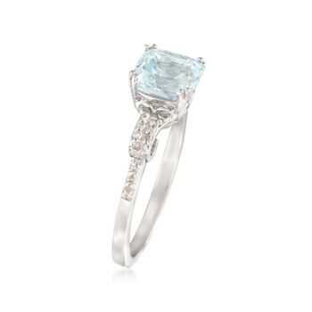 1.40 Carat Aquamarine and .10 ct. t.w. Diamond Ring in Sterling Silver, , default