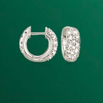 "Diamond Accent Wide Hoop Earrings in Sterling Silver. 1/2"", , default"