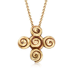 "C. 1990 Vintage Tiffany Jewelry 18kt Yellow Gold Swirl Cross Necklace. 18"", , default"