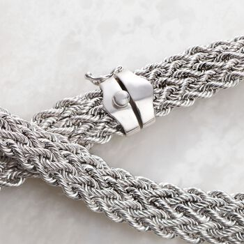 """Sterling Silver Multi-Row Rope Collar Necklace. 18"""", , default"""