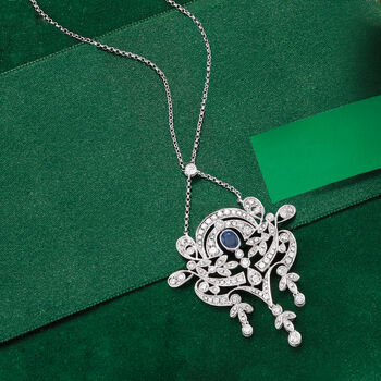 1.30 ct. t.w. Diamond and .30 Carat Sapphire Chandelier Necklace in 18kt White Gold