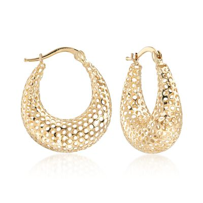 14kt Yellow Gold Puffed Openwork Hoop Earrings, , default
