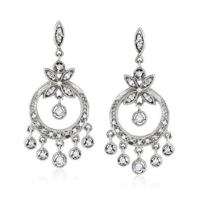 C. 1990 Vintage .25 ct. t.w. Diamond Chandelier Earrings in 14kt White Gold, , default