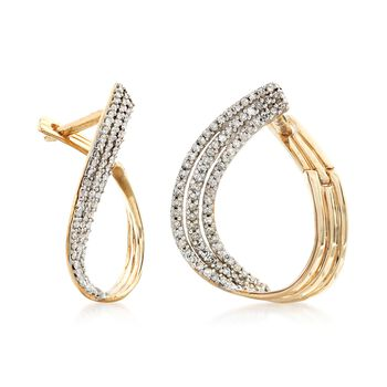 ".50 ct. t.w. Pave Diamond Multi-Row Twisted Hoop Earrings in 14kt Yellow Gold. 7/8"", , default"
