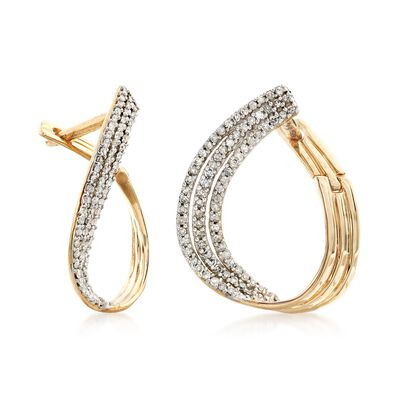.50 ct. t.w. Pave Diamond Multi-Row Twisted Hoop Earrings in 14kt Yellow Gold, , default