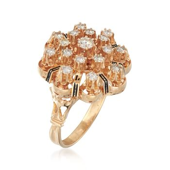 C. 1950 Vintage 1.10 ct. t.w. Diamond Cluster Ring With Black Enamel in 14kt Yellow Gold. Size 8.5, , default