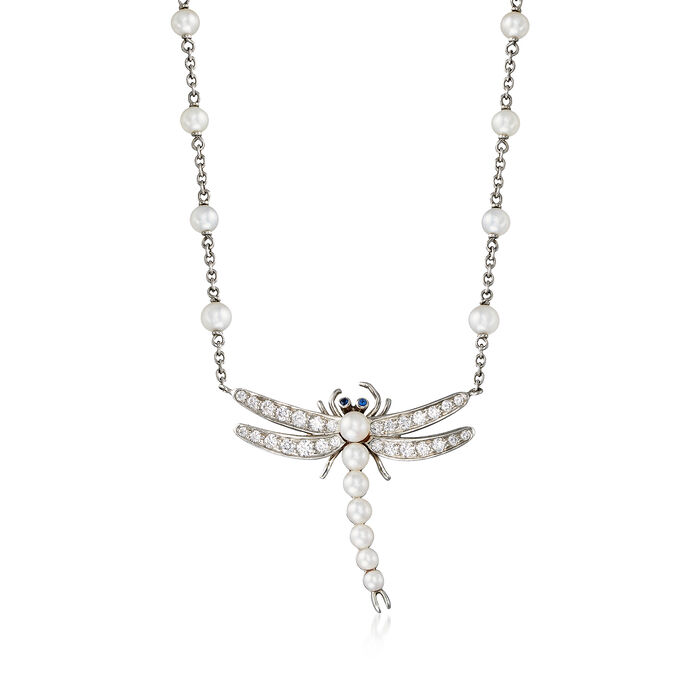 C. 2000 Vintage Tiffany Jewelry 2.5-3.5mm Cultured Pearl and .55 ct. t.w. Diamond Dragonfly Necklace in Platinum. 18""