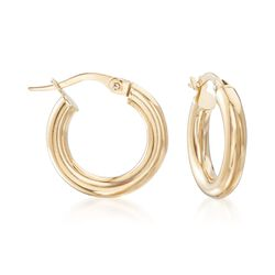 "Italian 3mm 18kt Yellow Gold Hoop Earrings. 5/8"", , default"