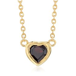 .50 Carat Bezel-Set Mini Garnet Heart Necklace in 18kt Gold Over Sterling, , default
