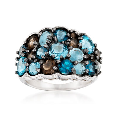 5.00 ct. t.w. Blue and Smoky Topaz Ring in Sterling Silver, , default