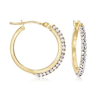Italian Swarovski Crystal Hoop Earrings in 14kt Yellow Gold, , default