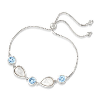 Mother-Of-Pearl and 6.00 ct. t.w. Blue Topaz Bolo Bracelet in Sterling Silver, , default