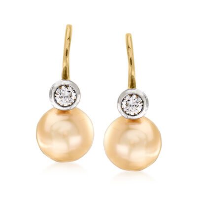 C. 1970 Vintage 9.5mm Yellow Cultured Pearl and .35 ct. t.w. Diamond Drop Earrings in 14kt Yellow Gold